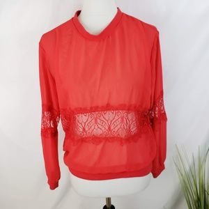 ♦️2/$20 Divided Red Sheer Lace Panel Top Size 6